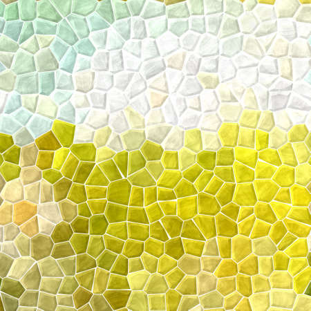 grout: mosaic green yellow gray pattern texture background with white grout Stock Photo