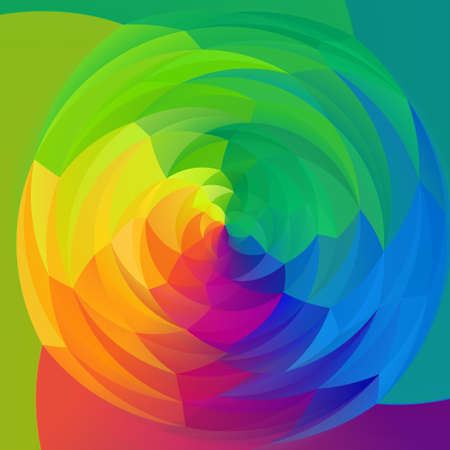 rotund: abstract modern artistic rounded floral shapes background - full color spectrum rainbow