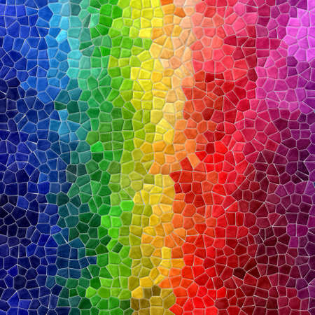 grout: mosaic striped full color rainbow pattern texture background with gray grout Stock Photo