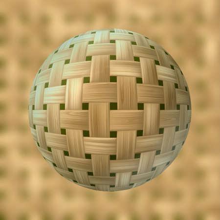 rattan: rattan sphere pattern on blurred background - bright beige wood Stock Photo