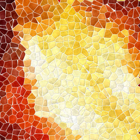 grout: mosaic fiery yellow, orange and red pattern texture background with white grout Stock Photo