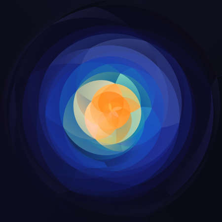 rotund: abstract modern artistic rounded floral shapes background - dark blue with orange middle