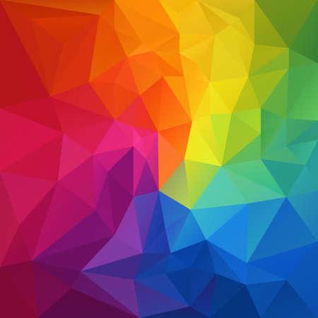 フルカラーの虹のスペクトルの色の三角形パターンで不規則な多角形の抽象的な背景