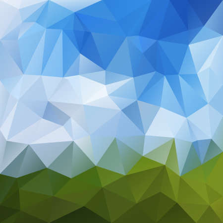tessellated: abstract irregular polygon background with a triangular pattern in blue and green colors - landscape nature with clear sky over grass