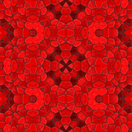 vibrant red floral stone mosaic kaleidoscope seamless pattern backgound with black grout