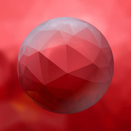 renders: glass sphere with polygon pattern on blurred background -  red colored - 3D rendering