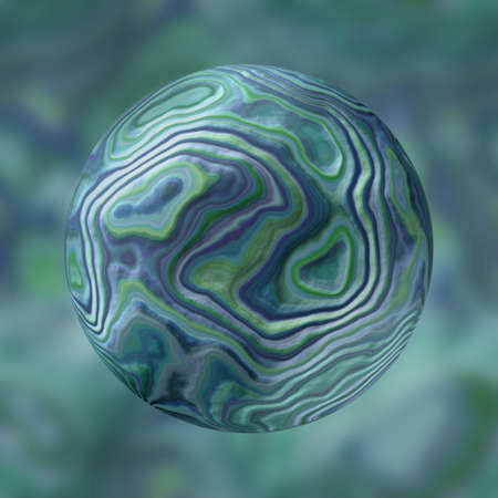 renders: stony marble agate sphere pattern on blurred background - blue and green colored - 3D rendering