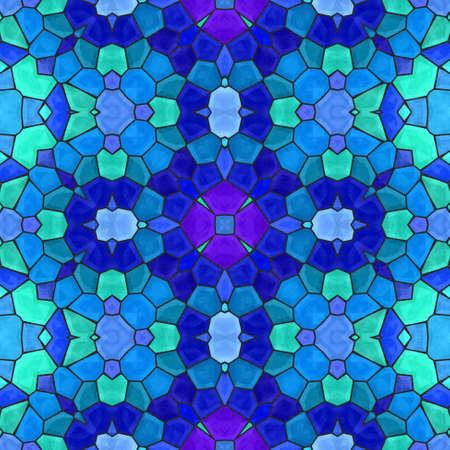 grout: blue green floral stone mosaic kaleidoscope seamless pattern backgound with black grout