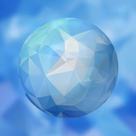 renders: glass sphere with polygon pattern on blurred background -  icy blue colored - 3D rendering Stock Photo
