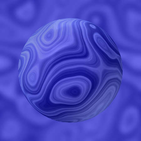 renders: stony marble agate sphere pattern on blurred background - blue colored - 3D rendering