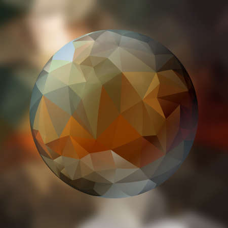 renders: glass sphere with polygon pattern on blurred background -  dark brown colored - 3D rendering