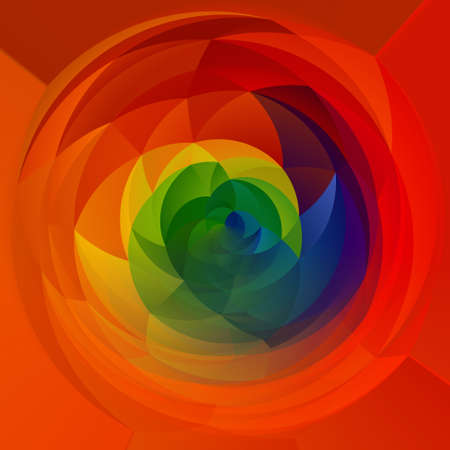 rotund: abstract modern artistic rounded shapes background - full color spectrum rainbow colors - red