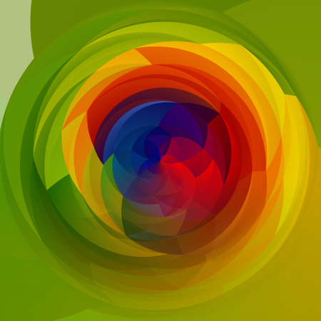 rotund: abstract modern artistic rounded shapes background - full color spectrum rainbow colors - green Stock Photo