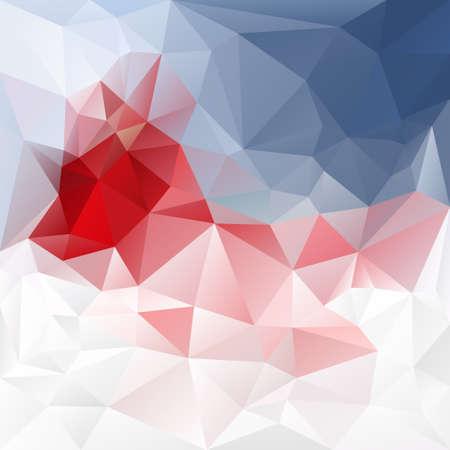 vecteur abstrait polygone irrégulier fond avec un motif triangulaire dans les couleurs rouge, bleu et blanc