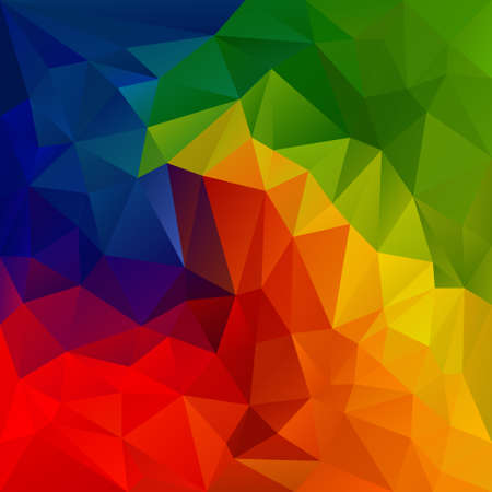 color background: abstract irregular polygon background with a triangular pattern in spectrum color full rainbow colors Illustration