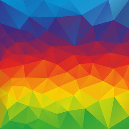 color spectrum: abstract irregular polygon background with a triangular pattern in full color spectrum colors - horizontal rainbow