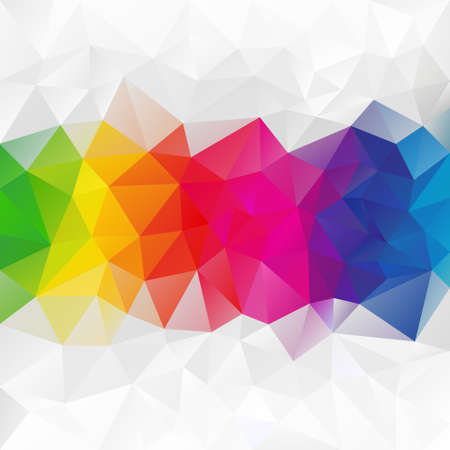 abstract irregular polygon background with a triangular pattern in color full rainbow spectrum colors - horizontal strip in the middle Illustration