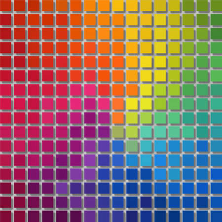 wallboard: pixel graphics background - little squares with shadow - full color spectrum rainbow colored