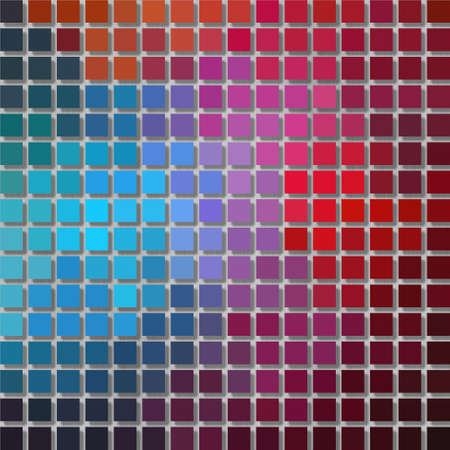color spectrum: pixel graphics background - little squares with shadow - full color spectrum rainbow colored