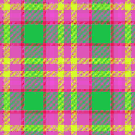 check diamond tartan plaid fabric seamless pattern texture background - pink, green and yellow colored