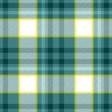 scots: check diamond tartan plaid fabric seamless pattern texture background - green, blue, yellow and white colored Stock Photo
