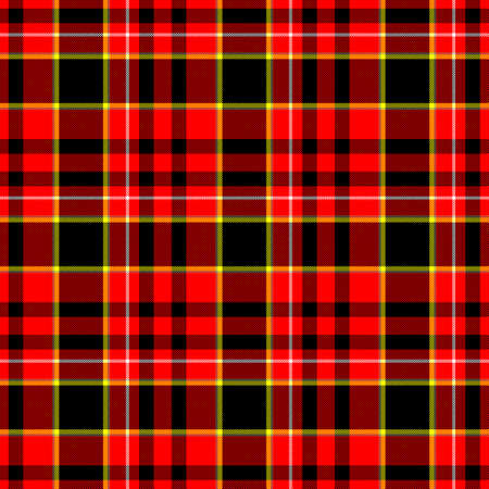 cloth manufacturing: check diamond tartan plaid fabric seamless pattern texture background - red, black, yellow and white colored Stock Photo