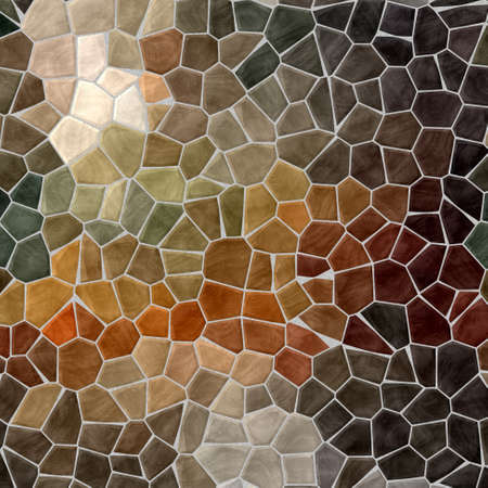 grout: dark natural brown and beige mosaic pattern texture background with gray grout