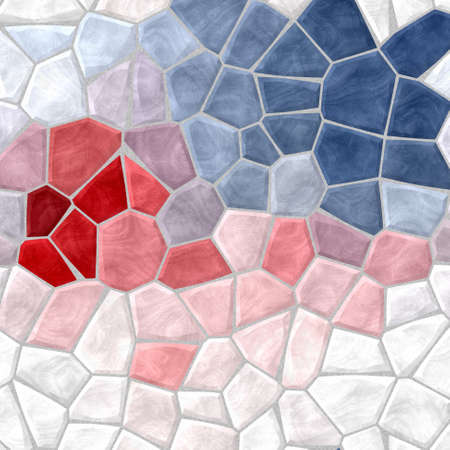 grout: white, blue, red and pink mosaic pattern texture background with gray grout