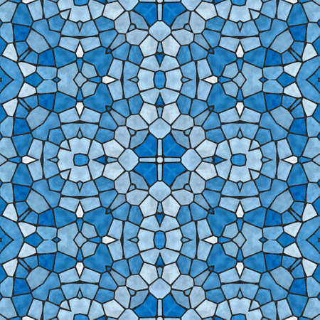 bevel: mosaic kaleidoscope seamless pattern texture background - blue colored with black grout