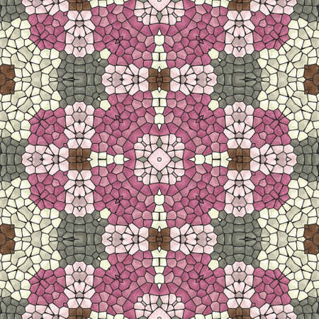grout: mosaic kaleidoscope seamless pattern texture background - pink, gray, brown colored with black grout