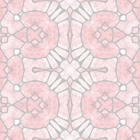 bevel: mosaic kaleidoscope seamless pattern texture background - light pink with gray grout Stock Photo