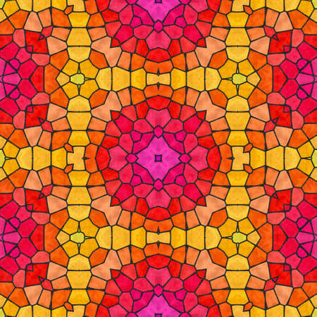 glasswork: mosaic kaleidoscope seamless pattern texture background - vibrant pink, red, yellow and orange colored with black grout