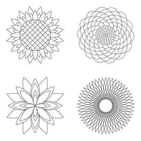 set of four floral simple mandalas - rose, sunflower, lotus and aster - black and white adult coloring book pages