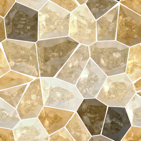 grout: brown and beige marble irregular plastic stony mosaic seamless pattern texture background with white grout