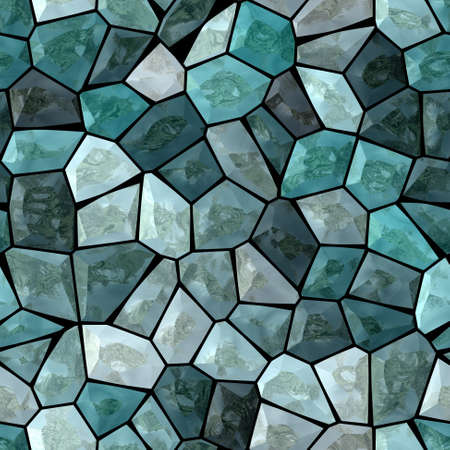 grout: blue and turquoise marble irregular plastic stony mosaic seamless pattern texture background with white grout