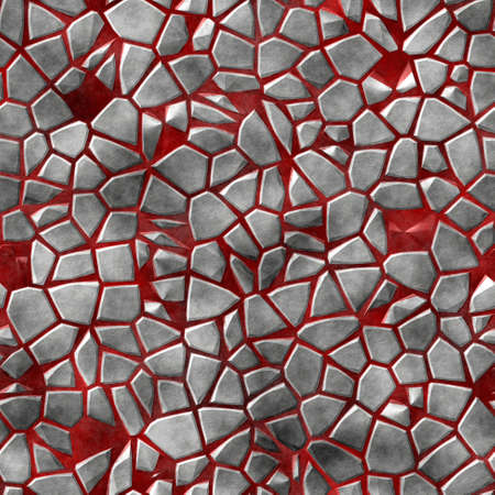 flooring: gray natural irregular plastic stony mosaic seamless pattern texture background with red grout Stock Photo