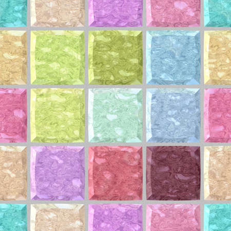 grout: pastel colorful spectrum marble stony mosaic seamless pattern texture background with gray grout - regular squares
