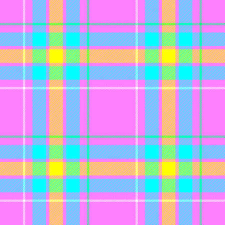 pink, blue, yellow and green check diamond tartan plaid fabric seamless pattern texture background