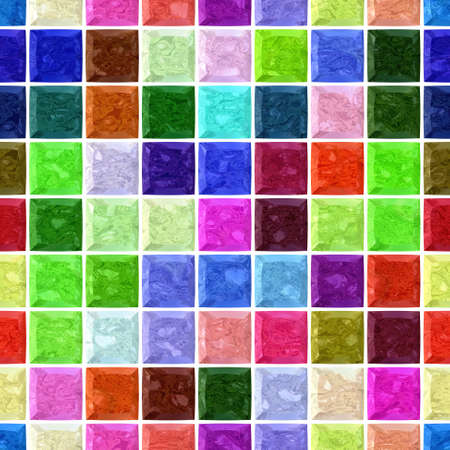 grout: vibrant colorful spectrum marble stony mosaic seamless pattern texture background with white  grout - regular squares Stock Photo