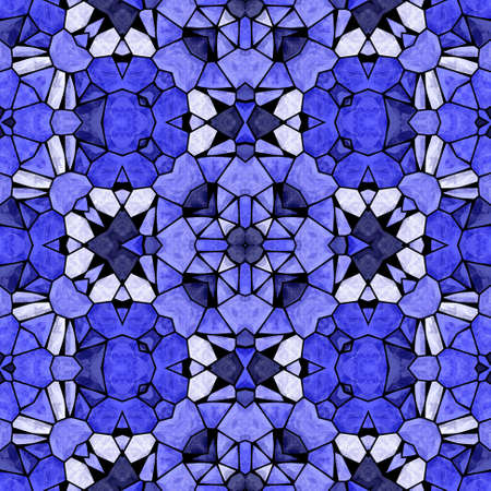 grout: mosaic kaleidoscope seamless pattern texture background - blue colored with black grout