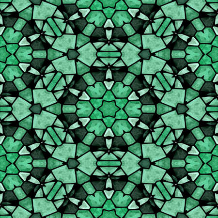 grout: mosaic kaleidoscope seamless pattern texture background - emerald green colored with black grout