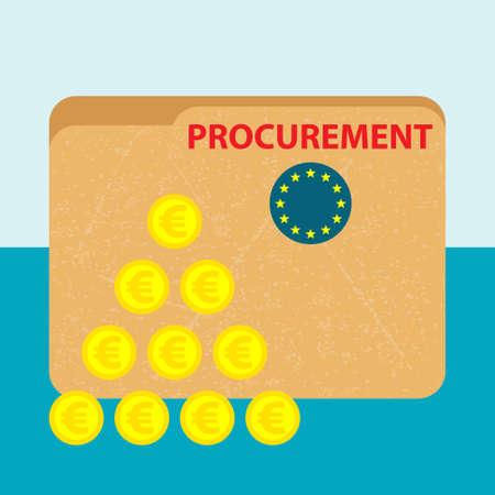 papier map met rode titel inkoop en de vlag van de Europese Unie en een stapel van gouden munten op de blauwe achtergrond - business picture - platte ontwerp