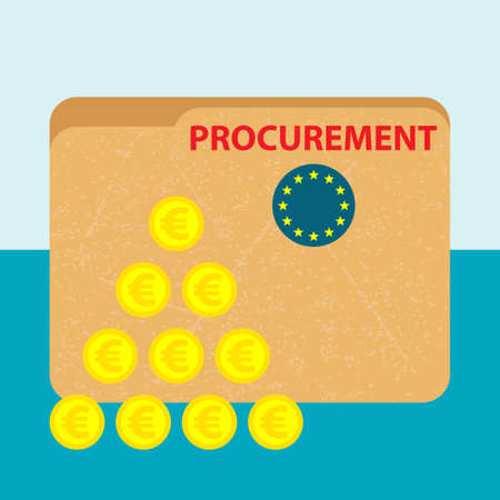 paper file folder with red title procurement and flag of european union and a  pile of gold euro coins on the blue background -  business picture - flat design