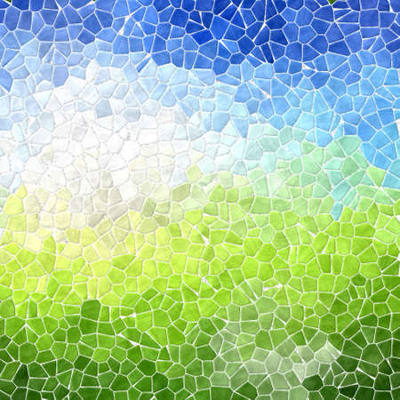 tessellated: landscape colored abstract marble irregular plastic stony mosaic pattern texture background with white grout - blue sky over green grass Stock Photo
