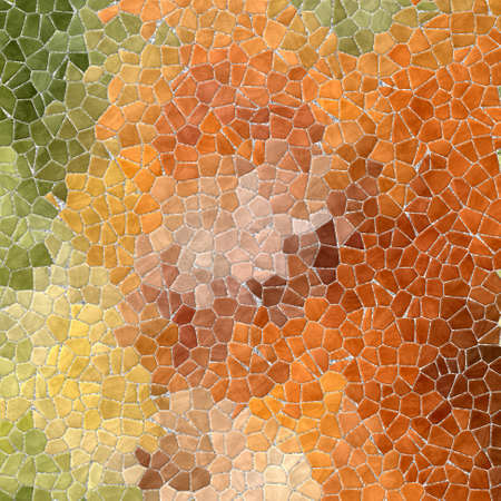 grout: natural autumn colored abstract marble irregular plastic stony mosaic pattern texture background with gray grout - green, orange and brown colors Stock Photo