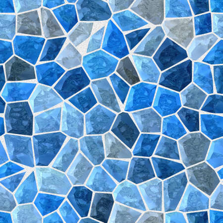 tessellate: blue colored abstract marble irregular plastic stony mosaic pattern texture seamless background with gray grout