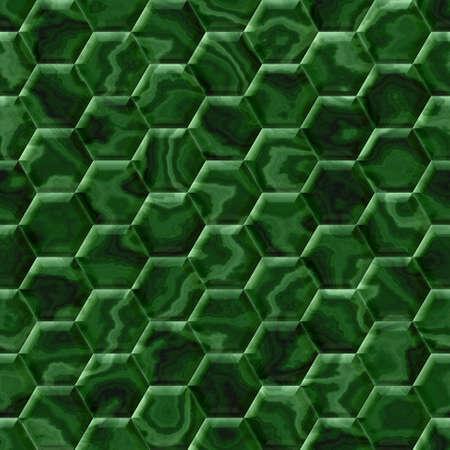 wallboard: green malachite hexagon seamless pattern texture background Stock Photo