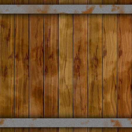 wallboard: dark brown wood barrel deck board seamless background with nine planks and two rusty metal hoops