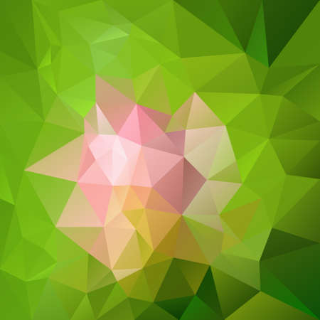 Abstract irregular polygon  with a triangular pattern - pink flower on green Illustration