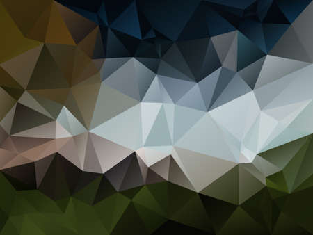 vector abstract irregular polygon background with a triangle pattern in natural green, blue, gray and brown color Illustration